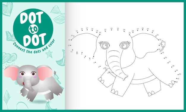 귀여운 코끼리 캐릭터로 도트 키즈 게임 및 색칠 페이지를 연결하십시오.
