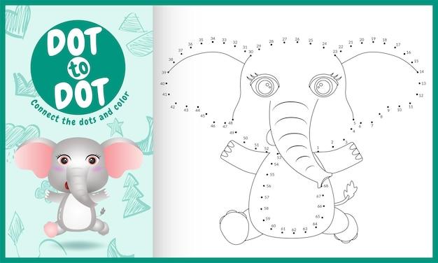 도트 키즈 게임과 색칠 페이지를 귀여운 코끼리와 연결