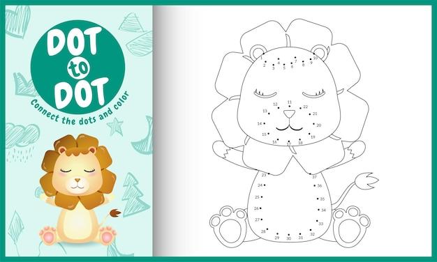 Игра «соедините точки» для детей и раскраску с милым персонажем львом