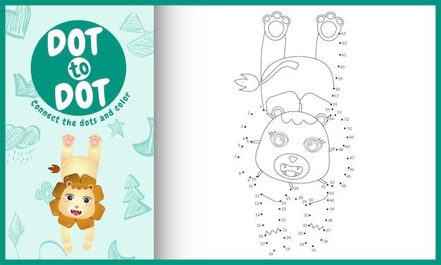 Соедините точки детская игра и раскраска с персонажем льва