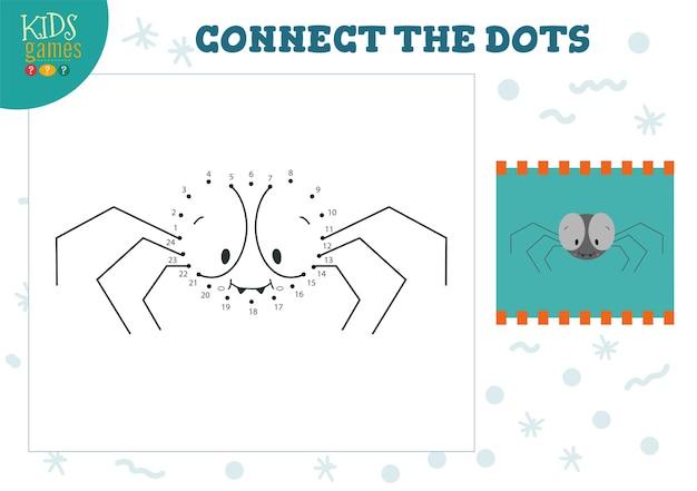 점을 연결하십시오 키즈 게임 일러스트 취학 전 어린이 그리기 활동으로 점을 찍으십시오 귀여운 거미 캐릭터