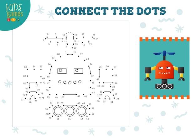 ドットキッズゲームベクトルイラストを接続します。ドットツードットを結合し、面白いかわいいロボットキャラクターを着色する就学前の子供たちの教育活動