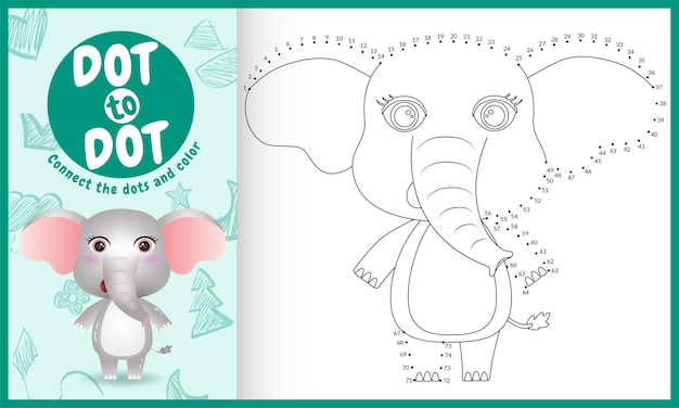 귀여운 코끼리 캐릭터 일러스트로 도트 키즈 게임을 연결하십시오.