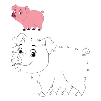 Connect the number to draw the animal educational game for children, Cute little pig