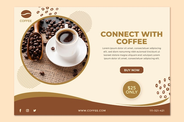 Connect with coffee banner template