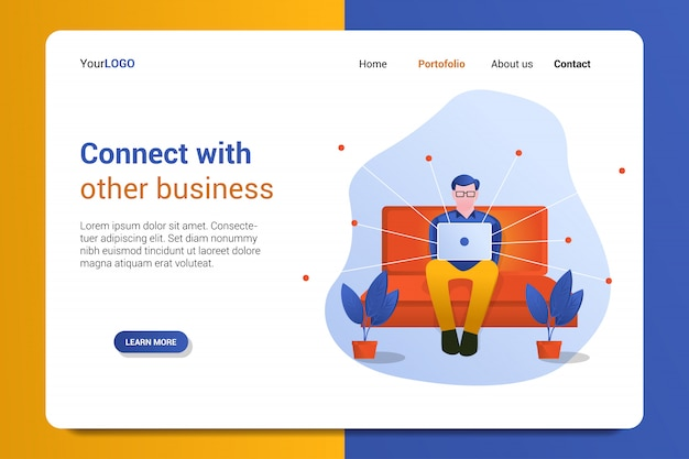 Connect with other business landing page template
