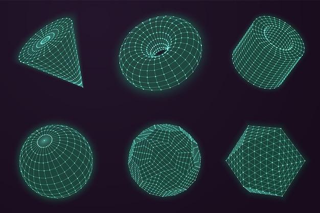 연결된 라인 분야입니다. 글로브 연결, 과학적 추상 격자 모양입니다. 미래 지향적인 3d 와이어프레임 점 다각형 구조 벡터 세트입니다. 그림 글로브 기하학적 네트워크, 격자 다각형