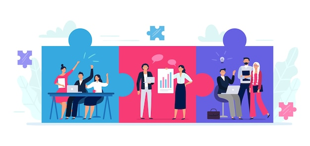 Connected teams puzzle. office workers team cooperation, teamwork collaboration and business partnership