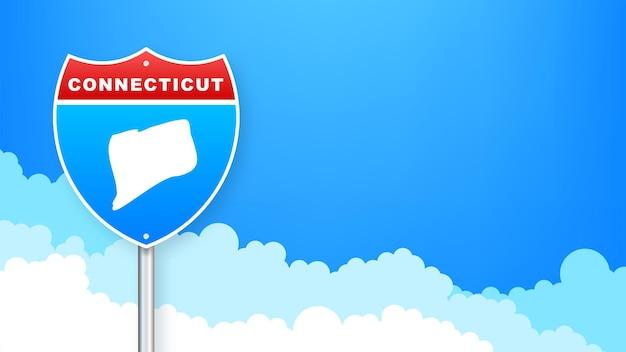 도 표지판에 코네티컷 지도입니다. 코네티컷 주에 오신 것을 환영합니다. 벡터 일러스트 레이 션.