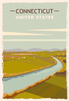 Connecticut retro poster. usa connecticut travel illustration. united states of america