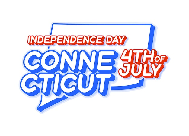 Connecticut state 4th of july independence day with map and usa national color 3d shape of us