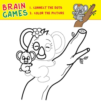 Connecting the dots coloring page brain games for kids children activity