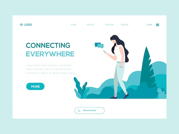 Connecting everywhere web illustration