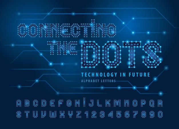 線と点を結ぶアルファベット文字と数字未来のテクノ様式化されたフォント