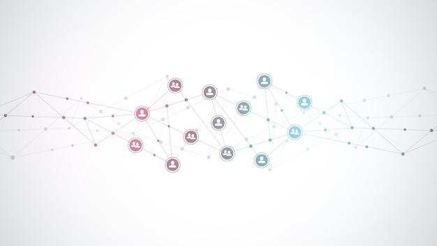 Соединение людей и концепция коммуникации, социальная сеть.