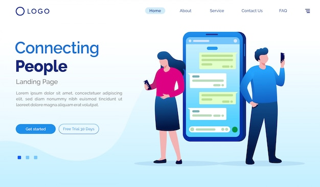 Connecting people landing page website illustration