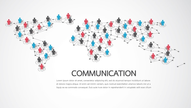 Connecting people with world map point