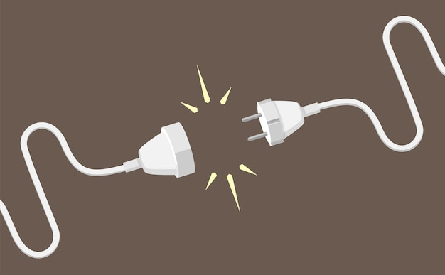 Connecting plug and electrical extension cable illustration