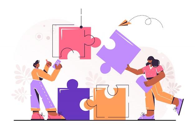 Connecting puzzle elements