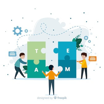 Connecting teams concept for landing page