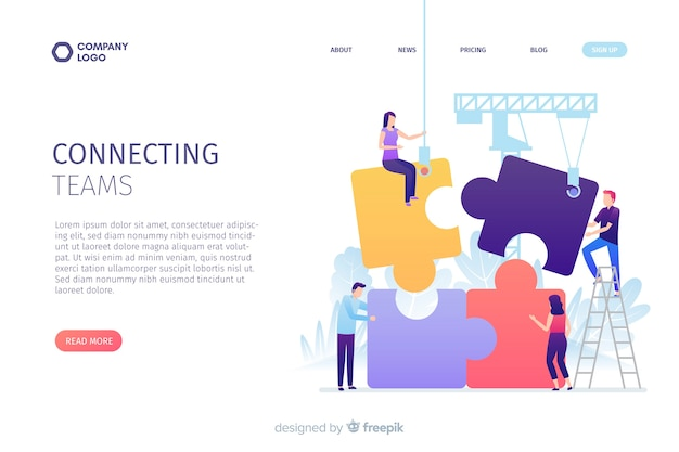 Connecting teams landing page concept