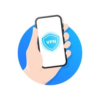Vpnモバイルネットワークに接続しています。 vpnサービスのモバイルアプリを示す手持ちのスマートフォン。仮想プライベートネットワークのサイバーセキュリティ。