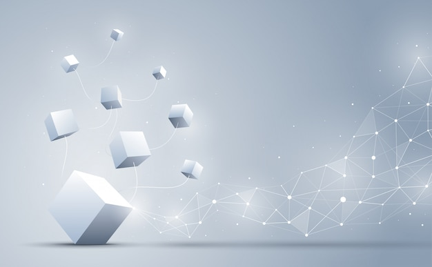 The connection of 3d cubes with abstract geometric polygonal with connecting dots and lines. abstract background. blockchain and big data concept. illustration.