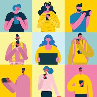 スマートフォンを持つ人々との接続概念の背景。チャット、メールメッセージング、sms、webサイトのモバイルコンセプト、フラットデザインのwebバナー