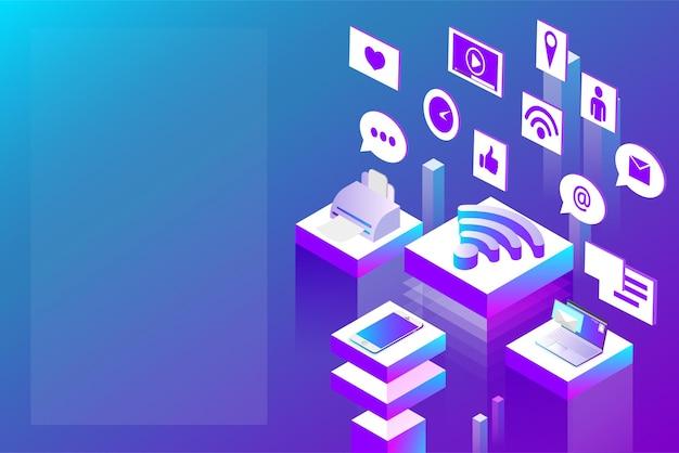 Подключение к интернету и сети социальных сетей абстрактная изометрическая иллюстрация на синем спектре обратно