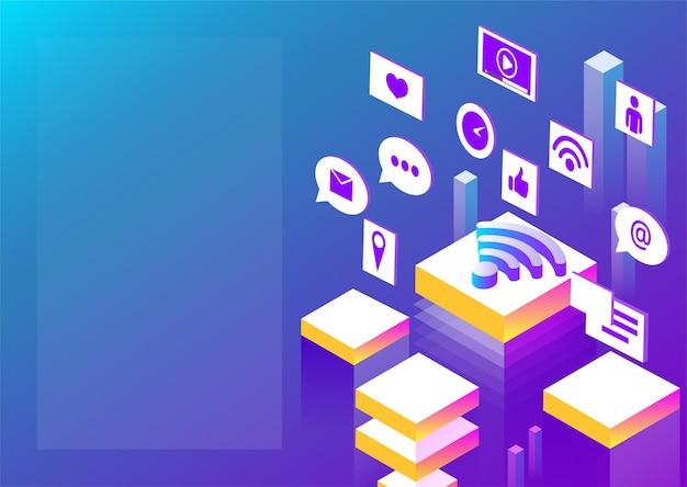 Подключение к интернету и сети социальных сетей абстрактная изометрическая иллюстрация на фоне синего спектра
