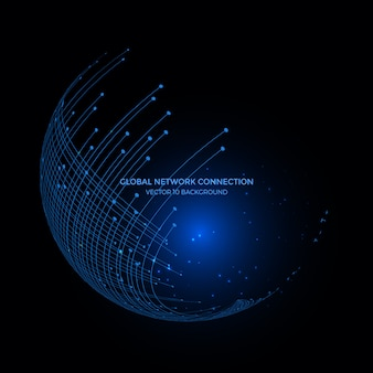 Connection lines around earth globe background, communication technology for internet business.