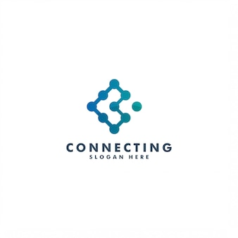 Connection logo design, letter c icon template