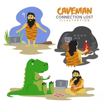 Connection lost illustration with caveman