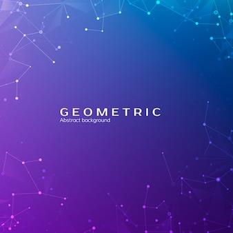 接続構造。宇宙の粒子。点と線を結んで多角形空間低ポリ暗い背景を抽象化します。図
