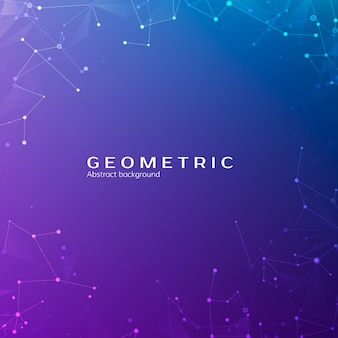 Connection structure. particles in space. abstract polygonal space low poly dark background with connecting dots and lines.  illustration