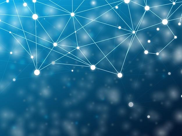 接続技術青い背景ネットワーク上の未来的な多角形の技術