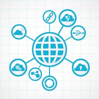 Глобус технологий связи, интегрированный с цифровыми значками