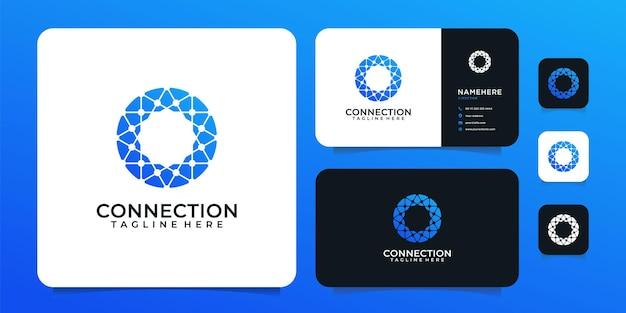 Connection technology shape vector digital logo design