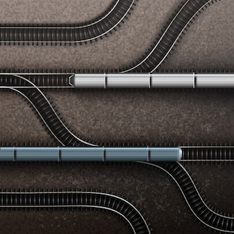 Connections railway tracks with trains. isolated top view