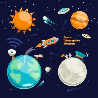 Покорение космоса. космические элементы. планета земля, солнце и галактика, космический корабль и звезда, луна и космонавт