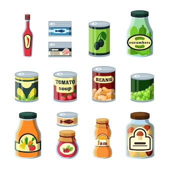 Консервирование продуктов питания, продуктов в банках плоский набор. стеклянные бутылки и банки, коллекция цветной металлической упаковки. консервы, консервы пакет