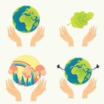 自然保護。私たちの手の自然白い背景で隔離のアイテムのセット