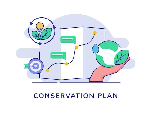 Концепция плана сохранения руки держите землю, воду, лист, лампочку, лампочку