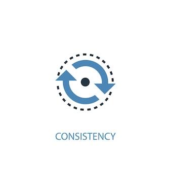 일관성 개념 2 컬러 아이콘입니다. 간단한 파란색 요소 그림입니다. 일관성 개념 기호 디자인입니다. 웹 및 모바일 ui/ux에 사용 가능