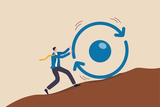 成功への一貫性の鍵、行われた仕事を繰り返し提供するビジネス戦略、自己啓発またはキャリア成長の概念、ビジネスマンは全力で一貫性の円のシンボルを丘の上に押し上げます。