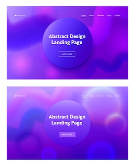 幾何学的な紫色の波形のランディングページの背景で構成されています。現代のデジタルモーショングラデーションパターンセット。ビジネスwebサイトwebページの曲線要素の設計。フラット漫画ベクトルイラスト