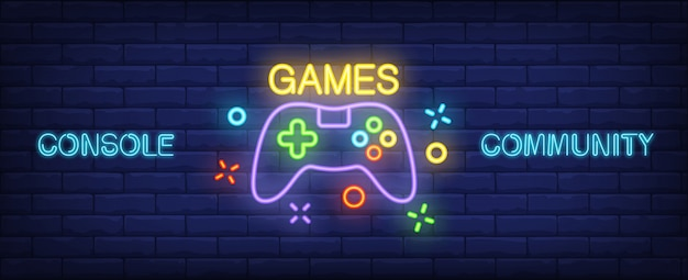 Console community neon style banner. gamepad on brick background.