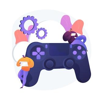 콘솔 게임 패드. 하이테크 기술. 라이브 게임 서비스, 비디오 게임 컨트롤러, 버튼이있는 조이스틱. 게이머를위한 조이패드. 주변 입력 장치. 벡터 격리 된 개념은 유 그림입니다.