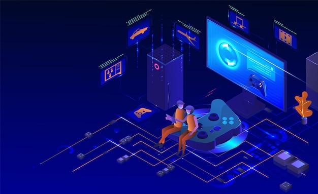 Консольный игровой набор изометрический настольный компьютер, монитор, игровой контроллер, игровая приставка, аксессуары для геймеров ...