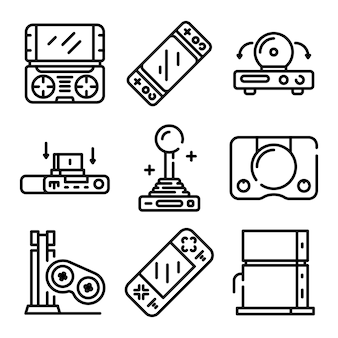 Console icons set, outline style